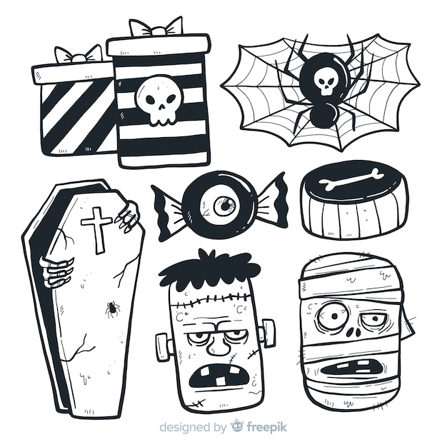 Halloween elements collection in hand drawn style Free Vector