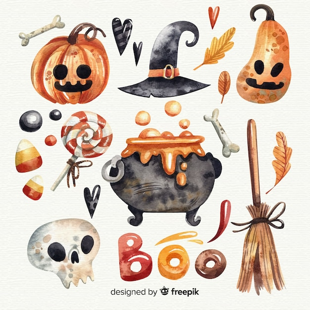 Halloween elements collection in watercolor Free Vector