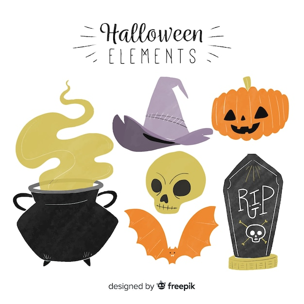 Halloween elements collection Free Vector