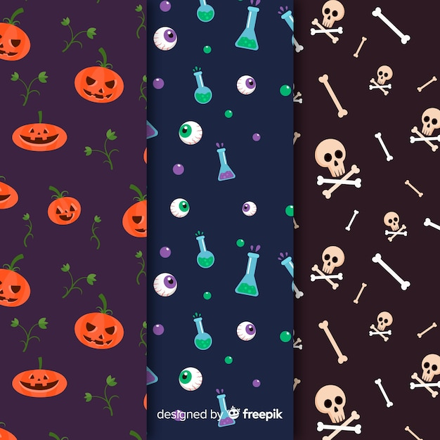 Halloween elements flat pattern collection Free Vector