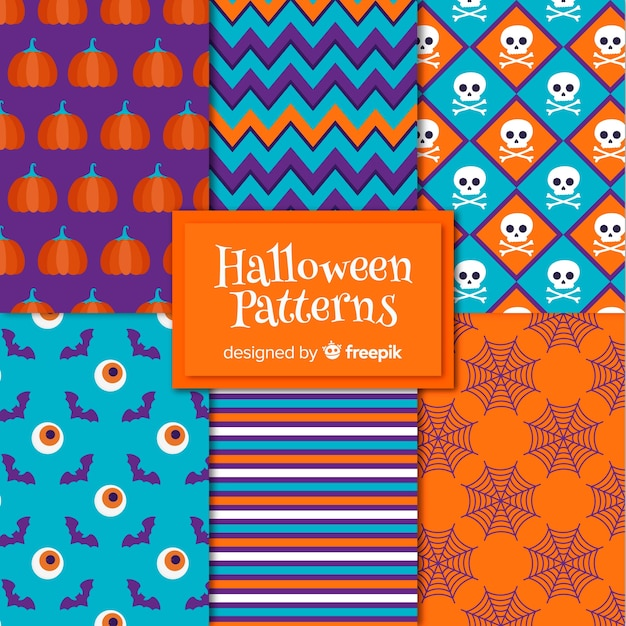 Halloween elements pattern collection in flat design Free Vector