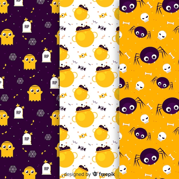 Halloween elements pattern collection flat design Free Vector