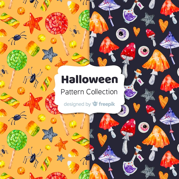 Halloween elements pattern collection in watercolor Free Vector