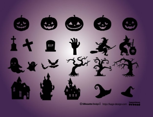 Halloween elements. Pumpkins, cementery, witch,\ castle, witch.