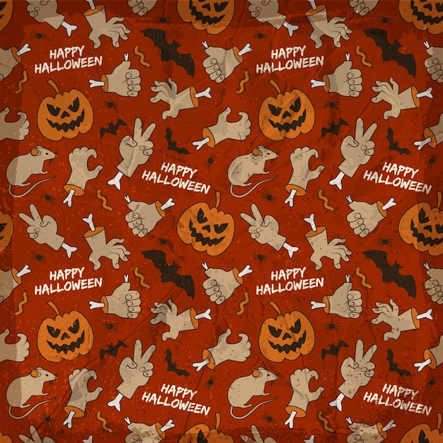 Halloween elements seamless pattern with animals hands smiling lanterns of jack Free Vector