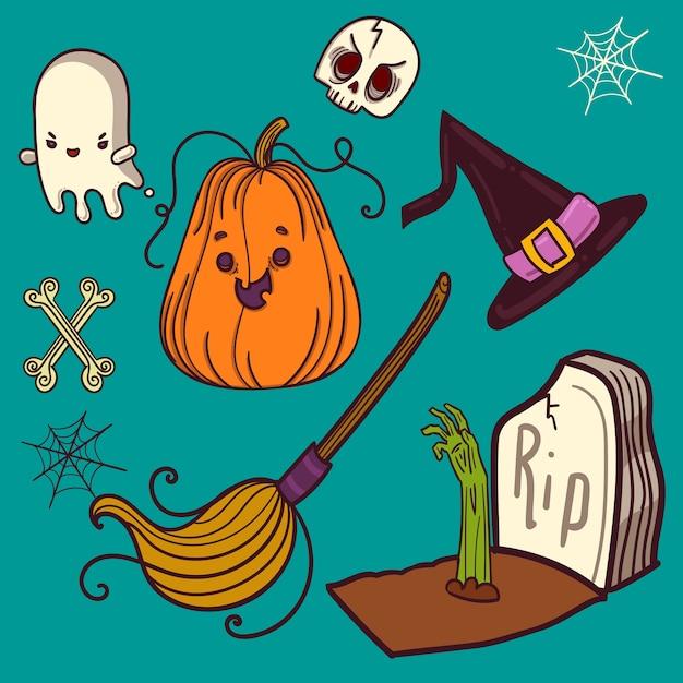 Halloween elements set icon for party Premium Vector