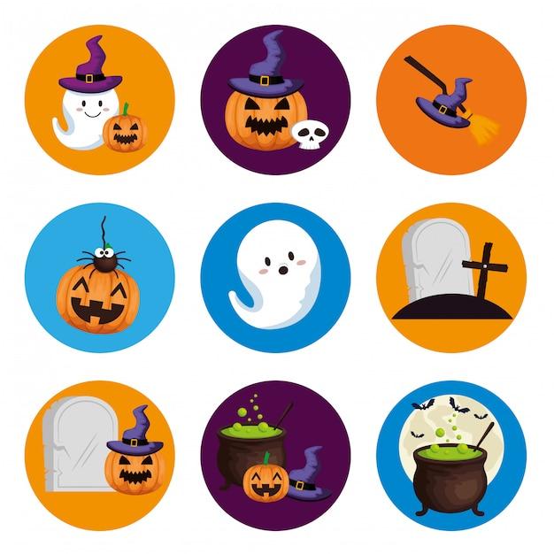 Set di elementi di halloween Vettore gratuito