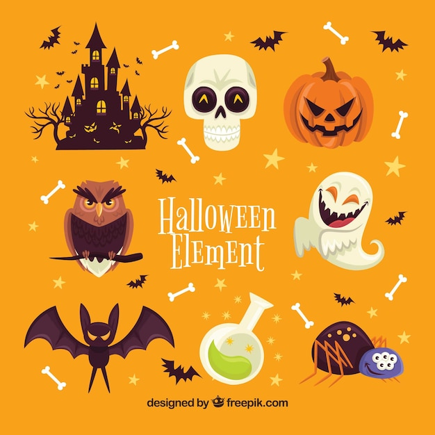 Halloween Elements With Flat Design Vector | Free Download