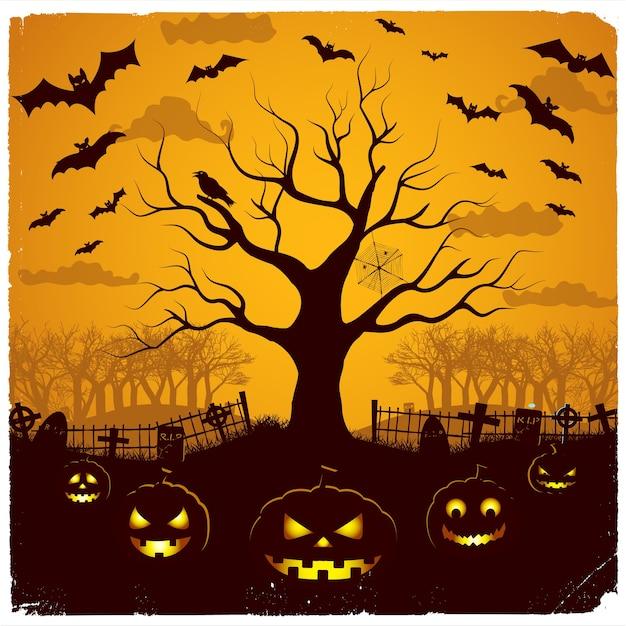 묘지 나무에서 축제 등불과 노란 하늘에 박쥐와 할로윈 저녁 디자인 무료 벡터