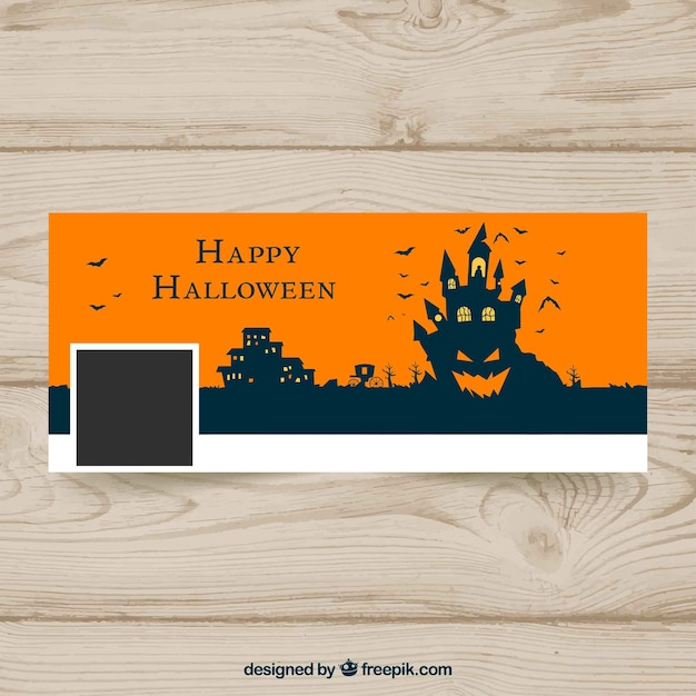 Halloween facebook cover with castle and\ pumpkin