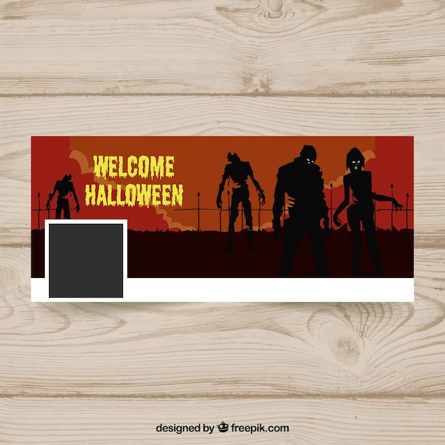Halloween facebook cover with zombies