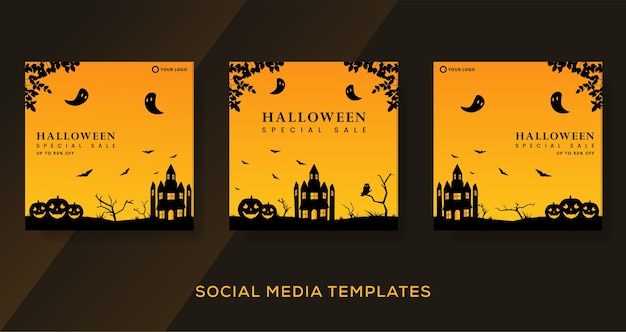 Halloween fashion sale background cover template. Premium Vector