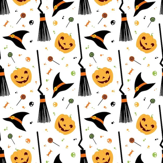 Halloween fest vector seamless pattern. witch hat, broom, sweets,  pumpkin Premium Vector