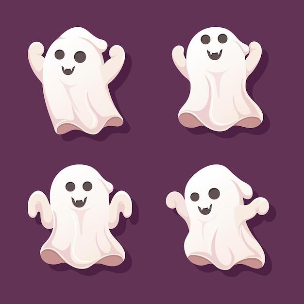 Коллекция призраков на хэллоуин Premium векторы