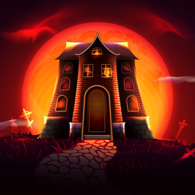 Casa del festival di halloween Vettore gratuito