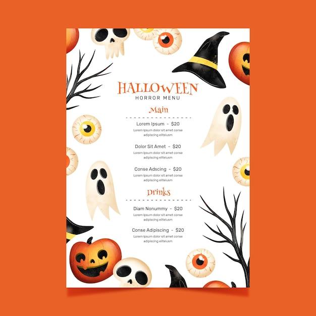 Modello di menu del festival di halloween Vettore gratuito