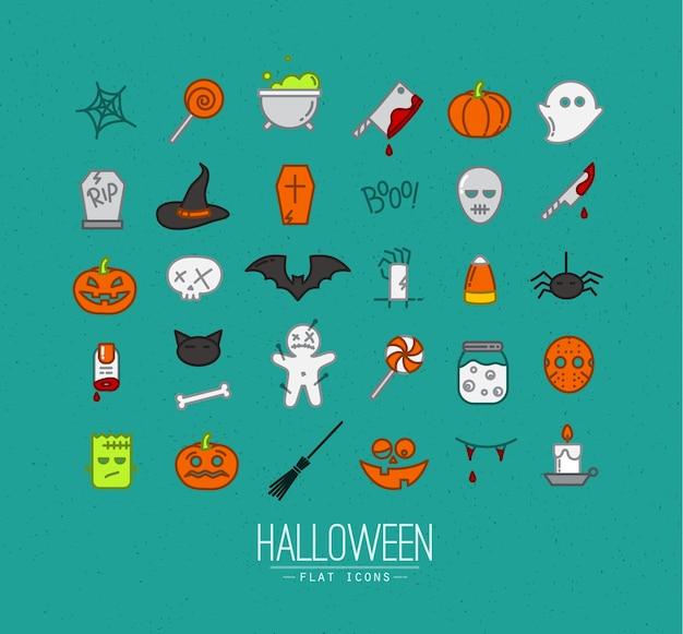 Halloween flat icons turquoise Premium Vector