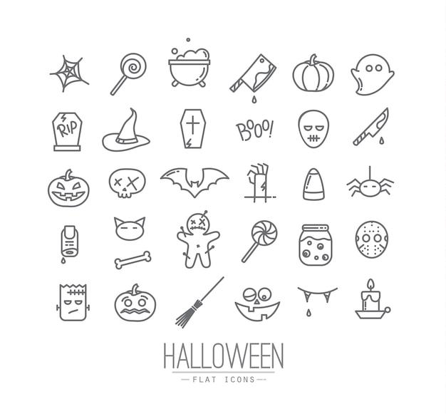 Halloween flat icons Premium Vector