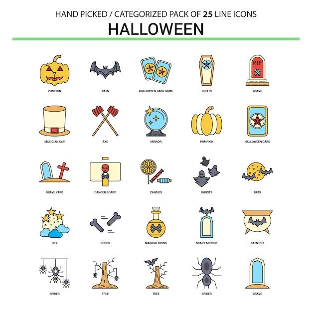 Halloween flat line icon set Premium Vector