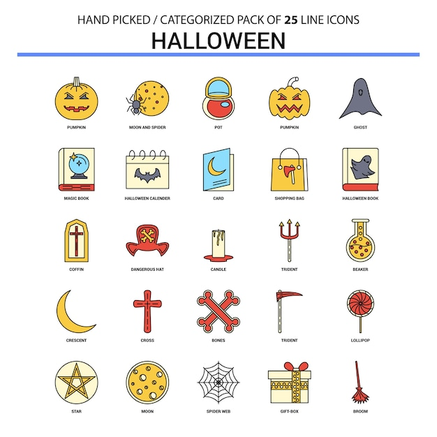 Halloween flat line icon set Free Vector