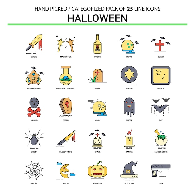 Halloween flat line icon set Free Vector