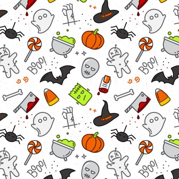 Halloween flat pattern color Premium Vector