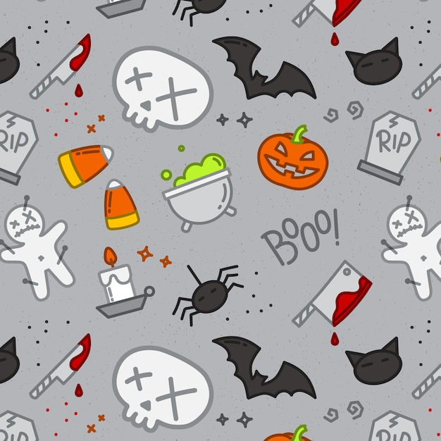 Halloween flat pattern skull color Premium Vector