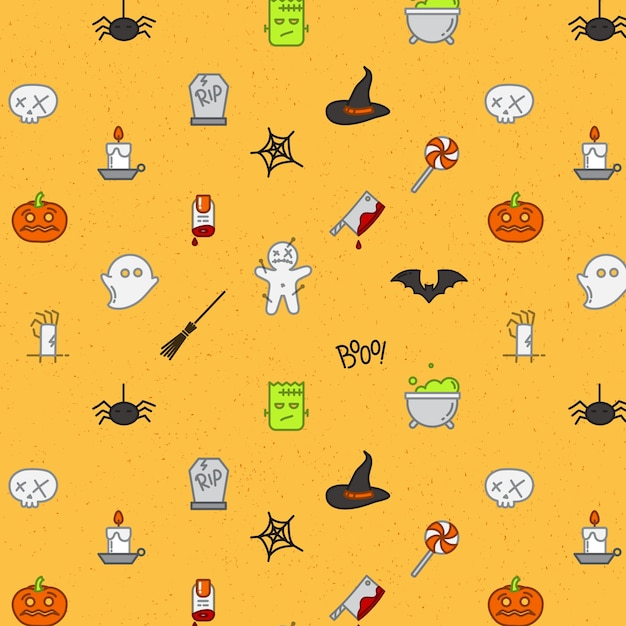 Halloween flat pattern soft color Premium Vector