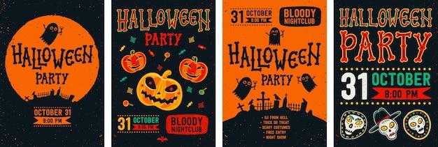 Halloween flyer set Premium Vector