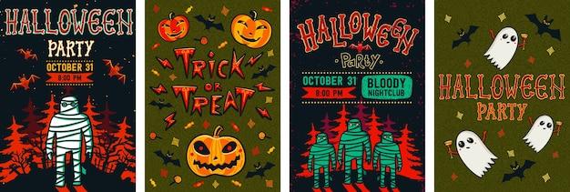 Halloween flyer set. Premium Vector