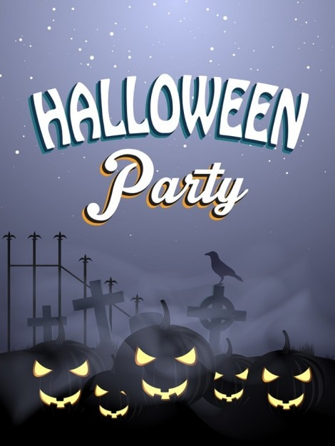 halloween flyer template with spooky pumkins vector free download
