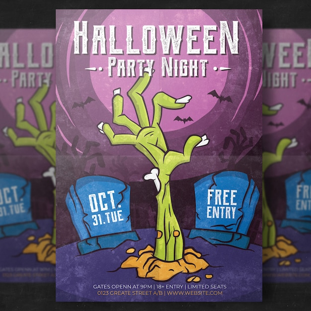 halloween flyer template vector free download