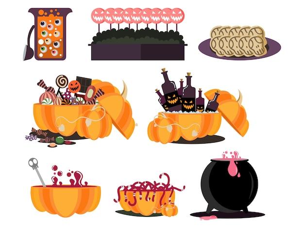 Halloween food party element Premium Vector