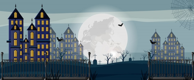 Halloween forest with castles, cemetery and bats banner Premium Vector