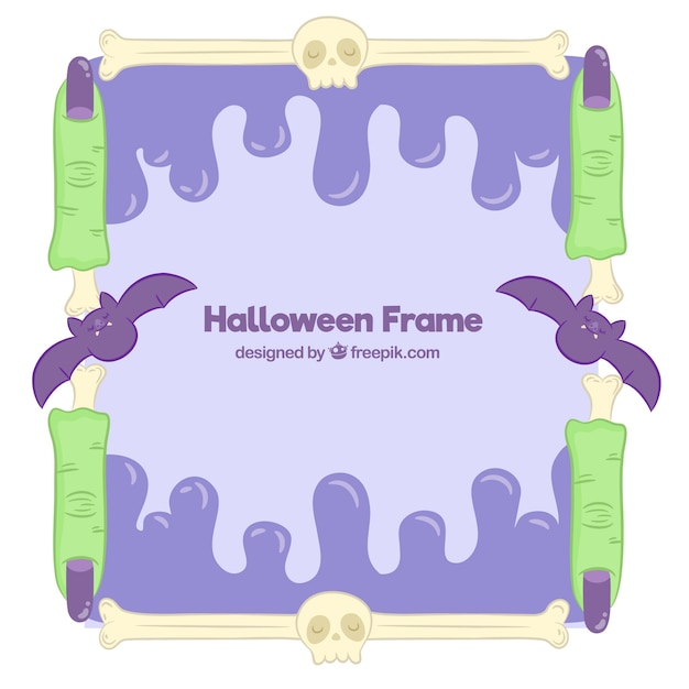 Halloween frame background with fingers and skulls