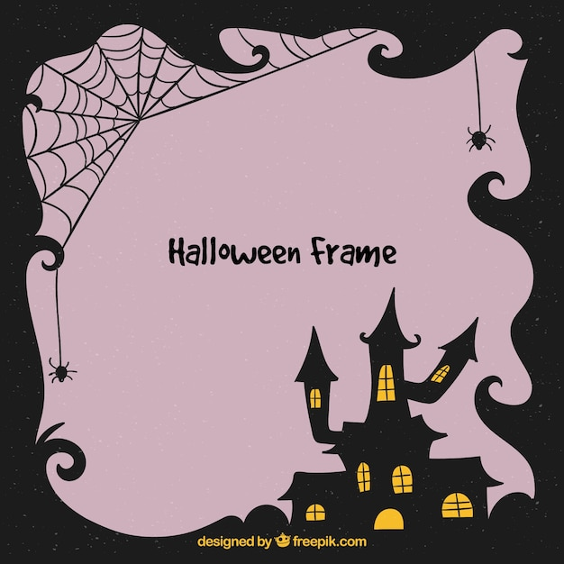 Halloween frame with creepy house Vector | Free Download