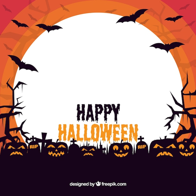 Halloween frame with creepy pumpkins Vector | Free Download