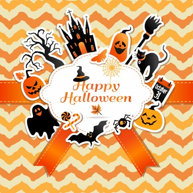 Halloween frame with funny stickers of celebration symbols Free Vector