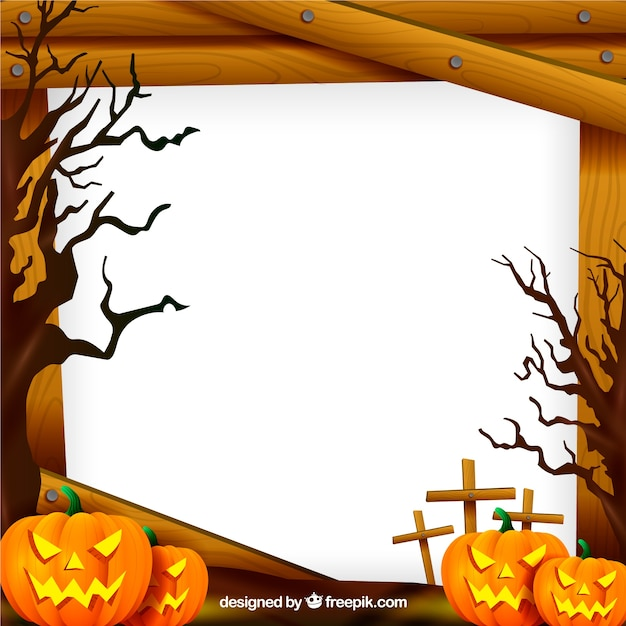 Halloween frame with pumpkins Vector | Free Download
