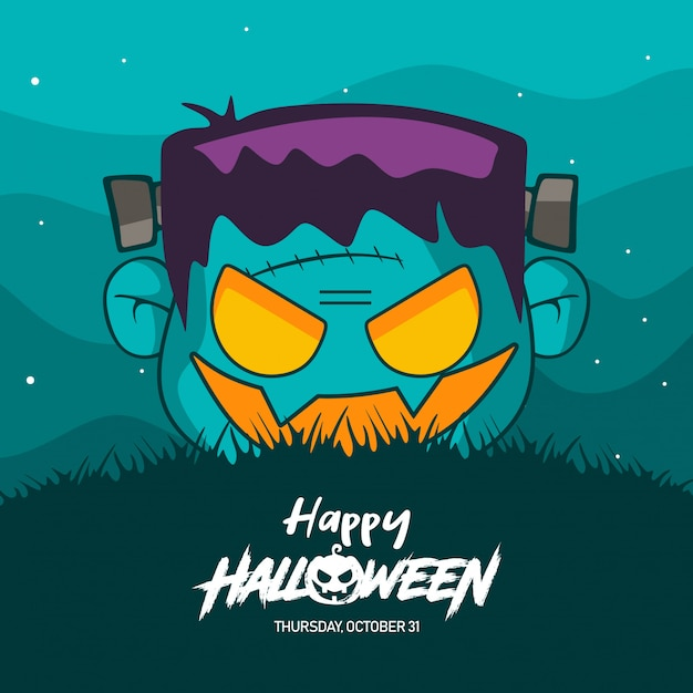 Halloween frankenstein costume illustration Premium Vector
