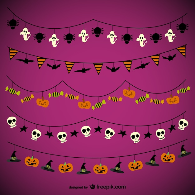 Halloween garlands pack Free Vector