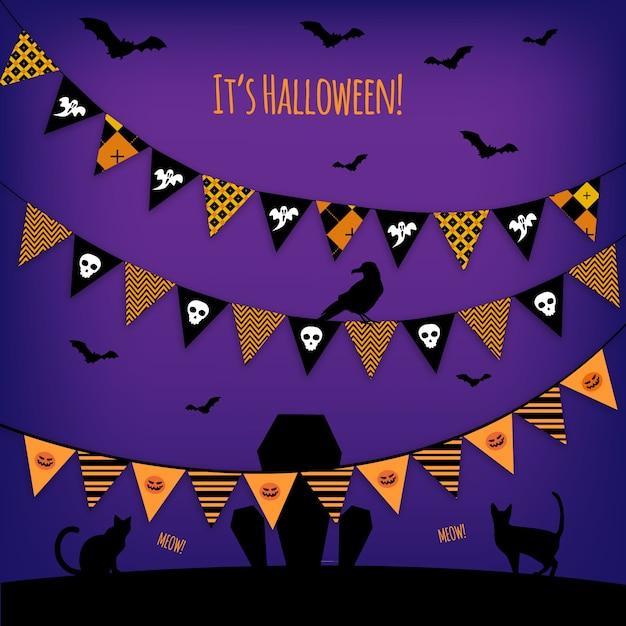Halloween garlands vector vector free download for Halloween girlande