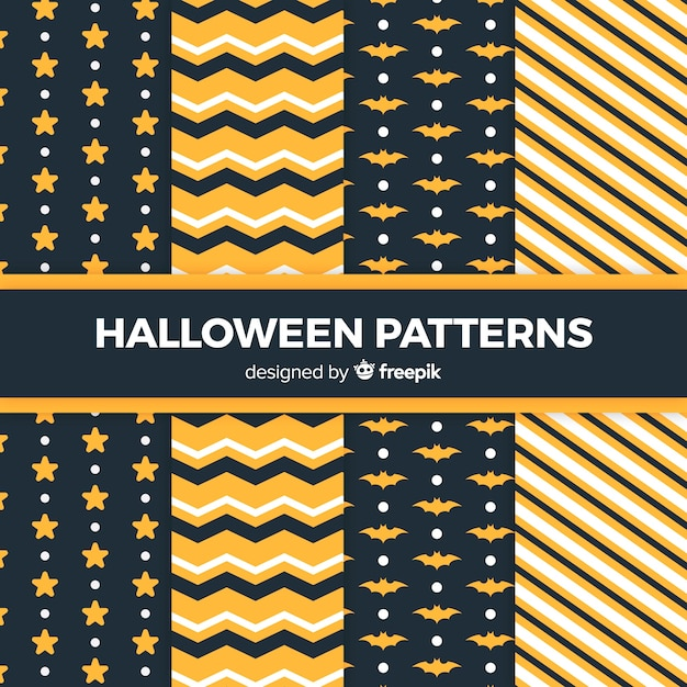 Halloween geometric pattern collection in flat design Free Vector