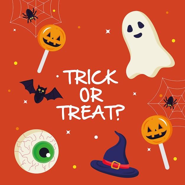 Призрак хэллоуина и конфеты с дизайном текста трюк или угощение, тема хэллоуина. Premium векторы