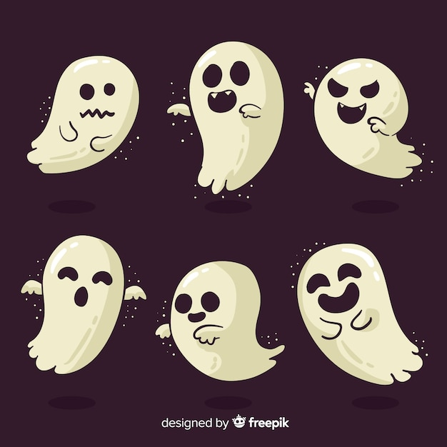 Halloween ghost character collection with flat design Free Vector