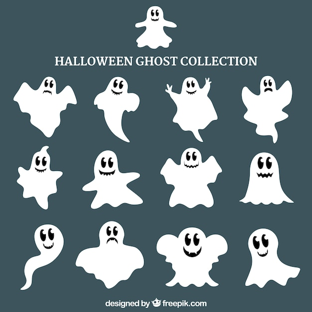 Halloween ghost collection Vector   Free Download