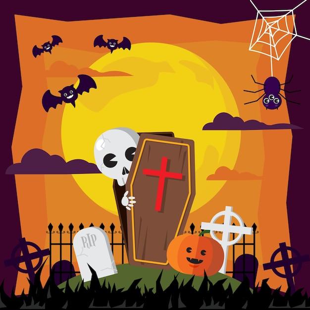 Halloween ghost and graveyard in moon illustrations. Premium Vector