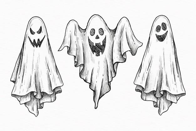 Коллекция рисованной призрак хэллоуина Бесплатные векторы