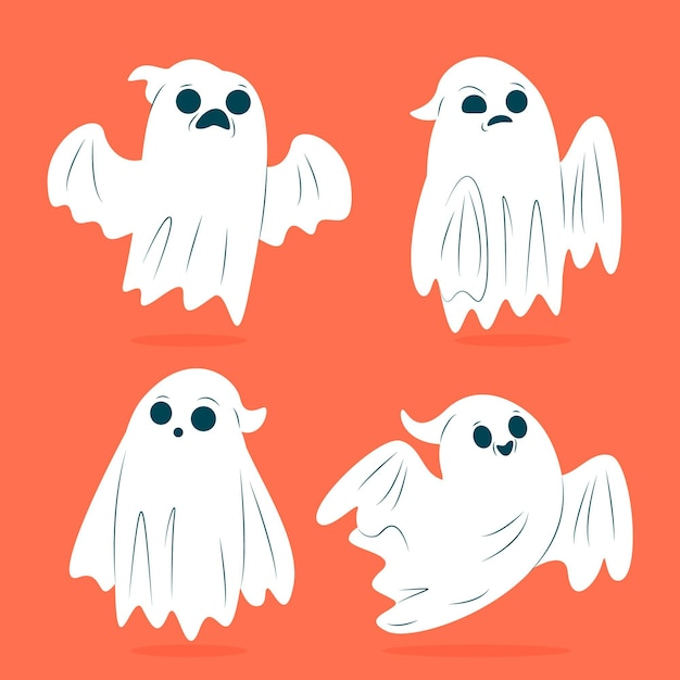 Halloween ghost pack design piatto Vettore gratuito