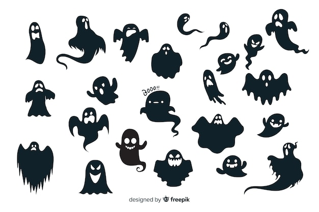 Halloween ghost silhouette collection Free Vector
